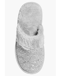 Boohoo - Gray Violet Faux Fur Trim Sequin Slip On Slippers - Lyst