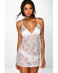 Boohoo - Multicolor Isabel Lace Babydoll And Brief Set - Lyst