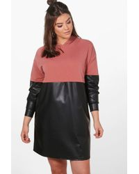 Boohoo | Multicolor Plus Louise Leather Look Contrast Sweat Dress | Lyst