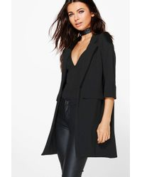 Boohoo | Black Petite Liz Pocket Turn Up Boyfriend Blazer | Lyst