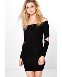 Boohoo | Black Petite Ivy Cut Out Sleeve Bodycon Dress | Lyst