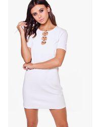 Boohoo | White Petite Olivia Ring Detail Shift Dress | Lyst