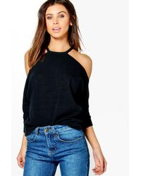 Boohoo | Black Petite Kady Textured Cold Shoulder Top | Lyst