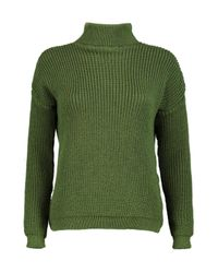 Boohoo - Green Petite Alice Roll Neck Soft Knit Jumper - Lyst