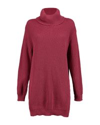 Boohoo - Red Petite Tilly Rib Roll Neck Jumper Dress - Lyst