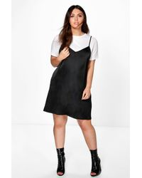 5bd70a1bb11 Lyst - Boohoo Plus Holly 2 In 1 T-shirt Slip Dress in Black