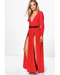 Boohoo Black Plus Karina Plunge Split Maxi Dress