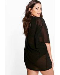Boohoo - Black Plus Sarah Solid Woven Kimono - Lyst