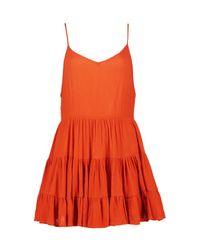 Boohoo - Orange Petite Lydia Low Back Tiered Sundress - Lyst