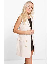 db6d8cc79a3b Lyst - Boohoo Petite Amy Button Detail Sleeveless Blazer Dress in White