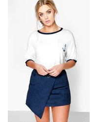 Boohoo - White Plus Jess Tipped T-shirt With Anchor - Lyst