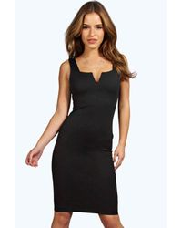 Boohoo - Black Petite Kirsty Scuba Midi Dress - Lyst