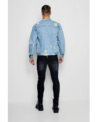 Boohoo - Blue Collarless Denim Jacket With Distressing for Men - Lyst