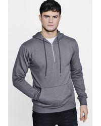 Boohoo - Gray Half Zip Over The Head Hoodie for Men - Lyst