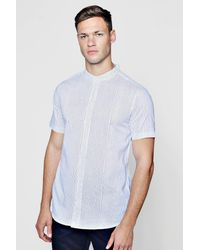 Boohoo - White Striped Muscle Fit Shirt In Short Sleeve for Men - Lyst