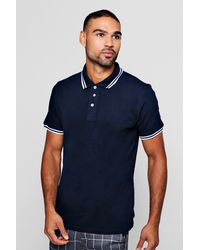 Boohoo - Blue Slim Fit Pique Polo With Tipping for Men - Lyst