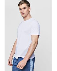 Boohoo - White Mesh Panel T-shirt With Asymmetric Hem for Men - Lyst