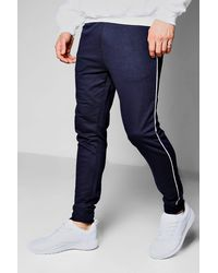 Boohoo - Blue Super Skinny Jogger With Piping for Men - Lyst