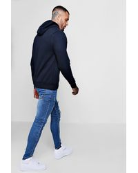 Boohoo - Blue Santa Monica Over The Head Hoodie for Men - Lyst