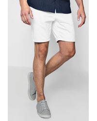 Boohoo - Mid Length Slim Fit Chino Short In White for Men - Lyst