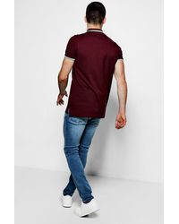 BoohooMAN - Red Short Sleeve Pique Polo With Tipping Detail for Men - Lyst
