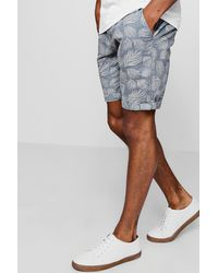 Boohoo - Gray Leaf Print Slim Fit Cotton Short for Men - Lyst