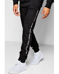 Boohoo - Black Super Skinny Jogger With Text Print for Men - Lyst