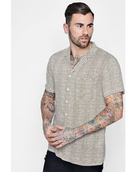 Boohoo - Yellow Print Short Sleeve Revere Shirt for Men - Lyst