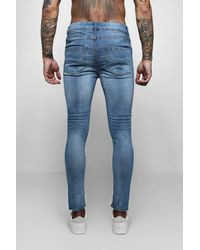 BoohooMAN Blue Skinny Fit Jeans With Distressed Knees for men
