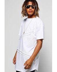 Boohoo - White Diagonal Seam T-shirt for Men - Lyst