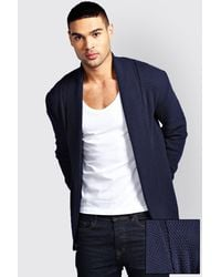 Boohoo - Blue Textured Cardigan for Men - Lyst