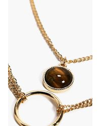 Boohoo - Metallic Circular Charm Necklace - Lyst