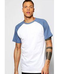 Boohoo - Blue Short Sleeve Raglan T Shirt for Men - Lyst