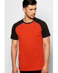 Boohoo | Orange Short Sleeve Raglan T Shirt for Men | Lyst