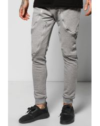 Boohoo - Gray Skinny Fit Joggers With Zip Panels for Men - Lyst