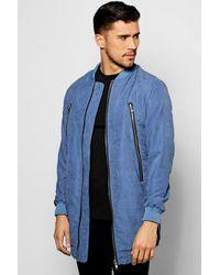 Boohoo | Blue Smart Woven Zipped Longline Bomber Jacket for Men | Lyst