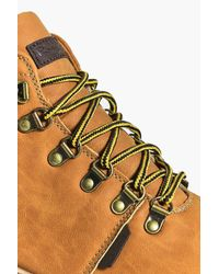 Boohoo - Brown Pu Hiking Boots With Rubberised Toe - Lyst
