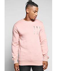 Boohoo | Pink Crew Neck Panel Sweatshirt With Zip Detail for Men | Lyst