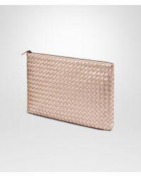 Bottega Veneta - Metallic Large Document Case In Rose Gold Intrecciato Gros Grain - Lyst