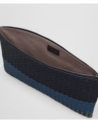 Bottega Veneta - Blue Multicolor Intrecciato Club Lamb Pouch for Men - Lyst