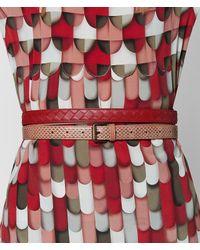 Bottega Veneta - Dahlia/china Red Intrecciato Check Belt - Lyst
