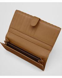 Bottega Veneta - Natural Camel Intrecciato Nappa French Wallet - Lyst