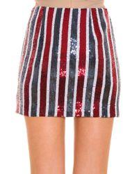 Giamba - Red Sequinned Stripe Skirt - Lyst