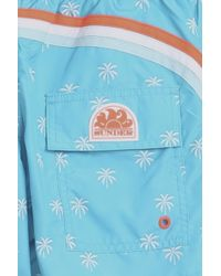 Sundek - Blue Palm Print Swim Shorts for Men - Lyst