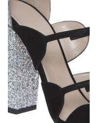 Giambattista Valli - Black Glitter Heel Sandal - Lyst