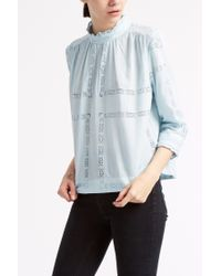 Sea - Blue High Neck Embroidered Lace Top - Lyst