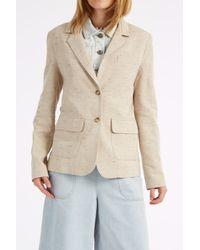 Sea - Natural Tweed And Denim Blazer Jacket - Lyst