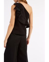 MSGM - Black Ruffle One Shoulder Top - Lyst