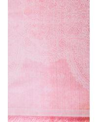 Elie Saab - Pink Silk Jacquard Scarf - Lyst