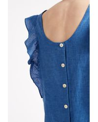 M.i.h Jeans - Blue Chambray Ruffle Top - Lyst